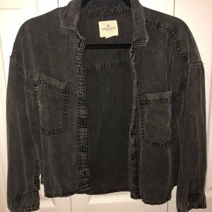 Charcoal Cropped Button Down